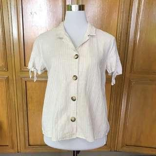 Mango Linen Button Down Top
