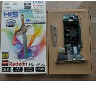 HIS Radeon HD 6450 PCIE display card 顯示卡