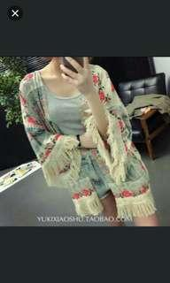 (NO INSTOCKS!) Preorder Tassel tribal fringed kimono outwear *waiting time 15days after payment is made *Chat to buy if int