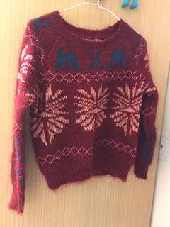 🚚 紅色編織毛衣