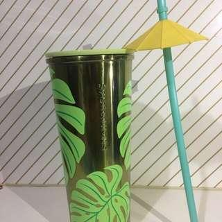 STARBUCKS TROPICAL LEAF STAINLESS COLD CUP PERFECT FOR SUMMER!!!