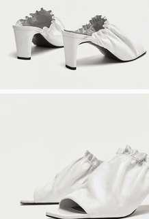 Zara Genuine Leather White Mules