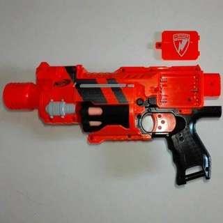 USED Nerf Barricade RV-10 Orange Gear Up 2009 3x AA Battery Operated Flywheel Blaster Toy Gun Fly Wheel Motorized Motor Hasbro TRU