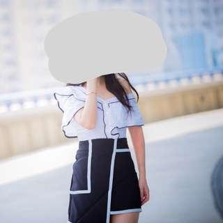 🚚 正韓兩件分開黑白裙實拍