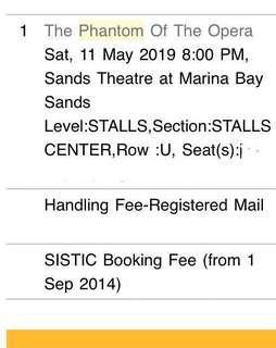 Phantom of the Opera SG tickets 11 May 2019