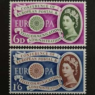 🚚 Great Britain 1960. EUROPA Stamps - The 1st Anniversary of the Establisment of CEPT complete stamp set