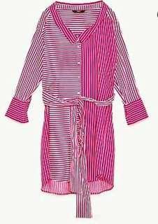 BNWT Zara Pink Striped Polo Dress Shirt with Tie