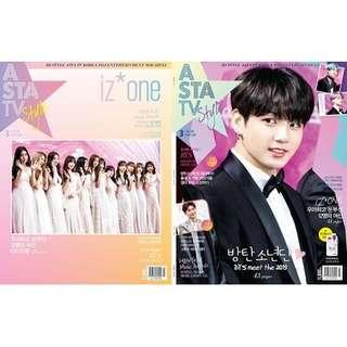 🚚 ASTA TV + Style 2019.01 VOL.125 3D Style Magazine (Double Cover : BTS 55p, IZ*ONE 41p Contents : Lee Jong Seok 14p) *Cover Random 1p out of 2p