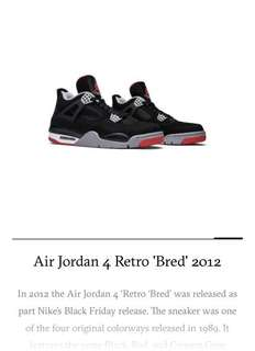 hot sale online 00993 49bc9 Air Jordan 4 Retro Bred, Men s Fashion, Footwear, Sneakers on Carousell