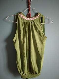 Nyla High Neck Green Blouse with Pearl