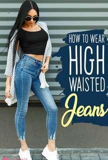 Highwaist Lighwash Tattered Denim Jeans