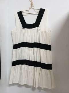 🚚 米白色搭配黑色條紋 無袖長版上衣 賣場三件免運費