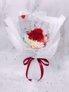 Red Rose Bouquet: Pastel Love