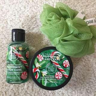 the body shop peppermint candy cane set