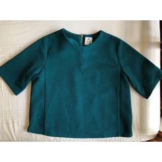 🚚 A for Arcade Teal Boxy Textured Top