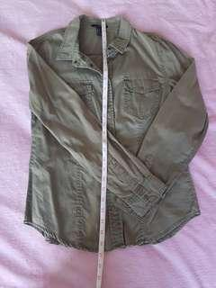F21 army green long sleeves