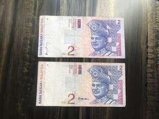 Set of Malaysia Old RM 2 Ringgit Paper Banknotes Rare
