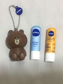 NIVEA Lip Balm set (Hydro Care + Ultra Care & Protect) with Limited-Edition LINE Brown holder