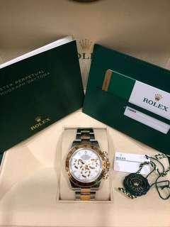 Rolex 116503 Daytona Half Yellow Gold with White Dial