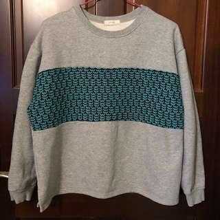 🚚 正韓🇰🇷寬鬆版灰色綠織紋棉衣