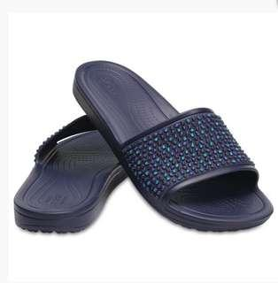 WOMEN'S CROCS SLOANE EMBELLISHED SLIDES NAVY/TURQUOISE SALE!
