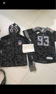 Bape x adidas shark hoodie and jersey tee
