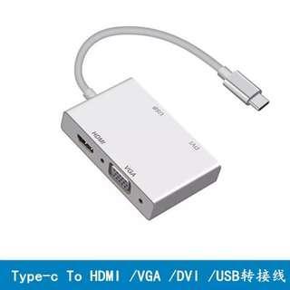 USB Type C to HDMI VGA DVI USB 3.0 Adapter Converter