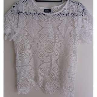 NWT Lace White Shirt
