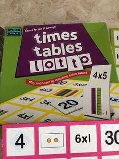 Board Games - times tables lotto