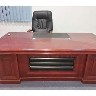 7ft Execuitve Director table with side cupboard and chair