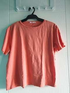 Mango casuals orange tshirt with knot sleeve detail