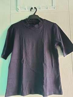 Uniqlo ribbed navy cotton crew neck shirt