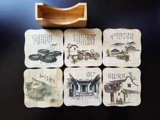中國水鄉風貌竹製杯墊套裝 一套6款
