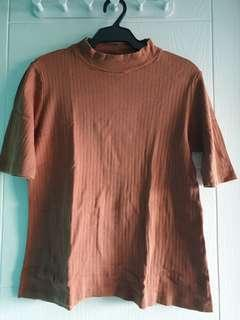 Uniqlo rust brown ribbed cotton shirt