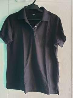 Uniqlo black pique polo shirt