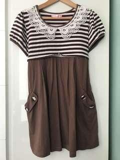 Brown maternity and nursing dress