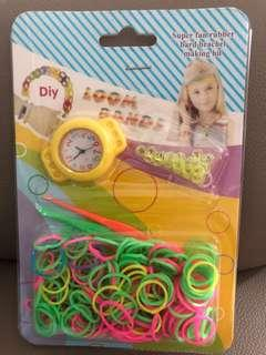 DIY Loom Bands with Watch - Yellow