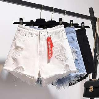 White Shorts ripped jeans short pants high waist