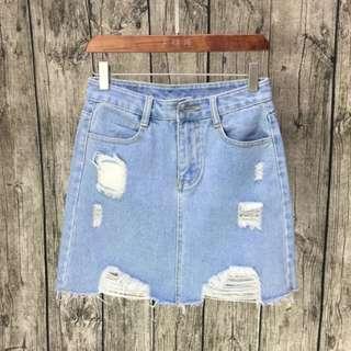 Denim Skirt light blue ripped jeans