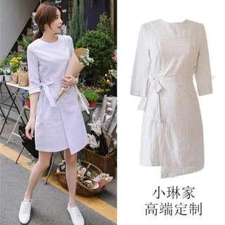 Korean White stripes dress wrap tied up ribbon pretty