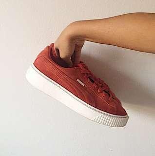 Puma basket platform sneakers - Red Suede