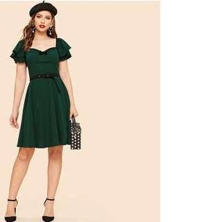 Green Sweetheart Neck Bow Detail Layered Sleeve Belted Natural Waist Knee Length Dress