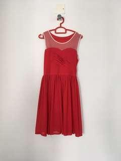 Red Dress with see through front design
