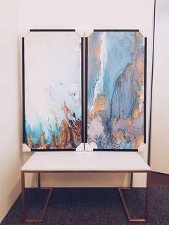 #blue marble - Art Print Painting (Framed)