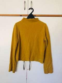 Zara mustard winged sleeve blouse