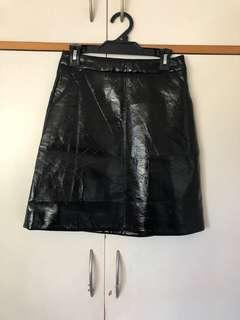 Vintage glossy pleather skirt