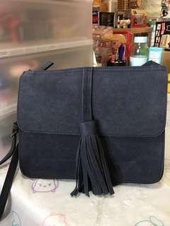 韓國 流蘇 藍色 斜揹袋 包包 Korean bag