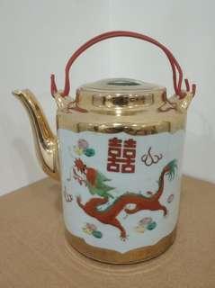 景德鎮 龍鳳 紅雙喜 直筒水壺 茶壺 瓷器 茶具