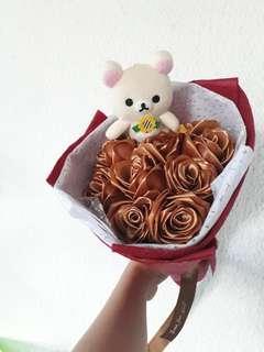 9 Stalks Rilakkuma Champagne Roses Mother Day Flower Bouquet