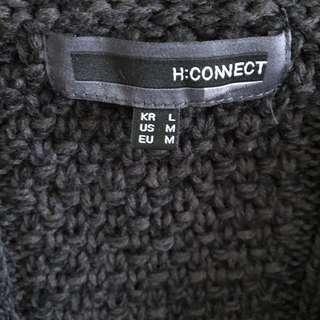 🚚 (全新)H:CONNECT 厚針織麻花連帽拉鏈外套(黑)